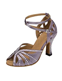 Minitoo Women's TH162 Crystals Cross Strap Satin Wedding Ballroom Latin Taogo Dance Sandals