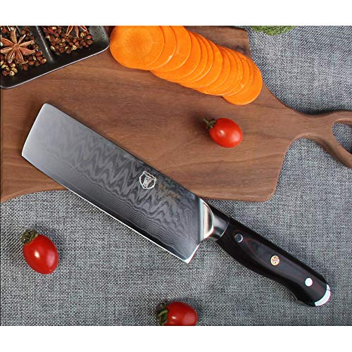7'Japanese Damascus Usuba - Nakiri Knife with 67 Layers Damascus Steel Kitchen Knife,Vegetable Chopper Cutter Knife, Meat Cleaver, Full Tang Blade G10 Handle for Professional Chef WALLOP Dragon Bone by WALLOP (Image #4)
