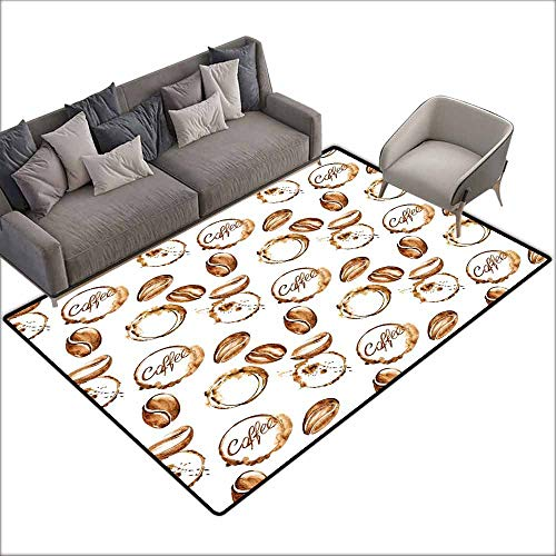 Outdoor Kitchen Room Floor Mat Coffee,Conceptual Watercolor Art with Beans and Spilled Java Drops Circular Stains,Pale Brown White 48