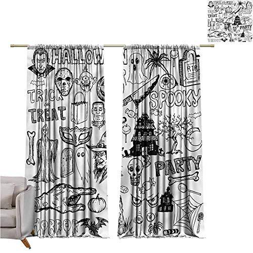 zojihouse Vintage Halloween Darkening and Thermal Insulating Window Curtains 55