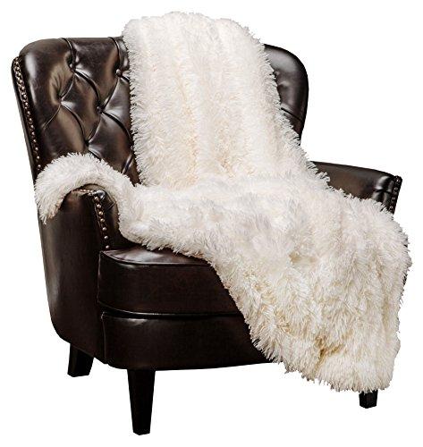 Chanasya Super Soft Shaggy Longfur Throw Blanket | Snuggly Fuzzy Faux Fur Lightweight Warm Elegant Cozy Plush Sherpa Microfiber Blanket | for Couch Bed Chair Photo Props - 60