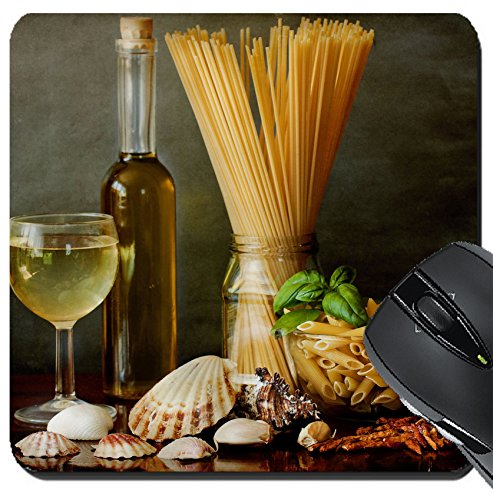 MSD Suqare Mousepad 8x8 Inch Mouse Pads/Mat design: 29209656 Italian excellent sauce recipe for noodles sailor style clams white wine garlic chili olive oil