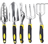 Annymall Gardening Tool Set 5-Piece, Garden Tools Kit Transplanter Trowel Cultivator Weeding Rake with Heavy Duty Cast-Aluminum Heads Ergonomic Handles (Black/Yellow)