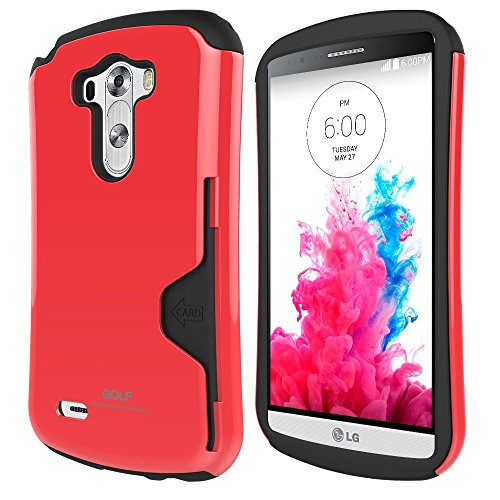 Lg G3 Case F400 Phonefoam® Golf 2 Series [Dual Layer] [Heavy Drop Protection] [Air Protection]credit Card Slot Holder and Kickstand Wallet Case - Retail Packing for Lg G3 (Red)