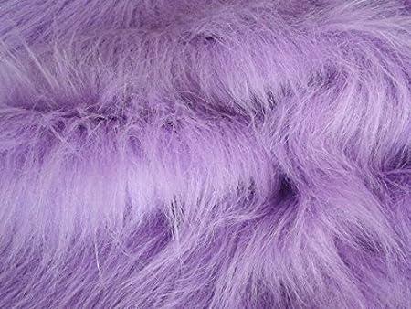Pelo Sintetico lungo e Spesso Materiale Tessuto Viola Sample 10cmx10cm Lilla