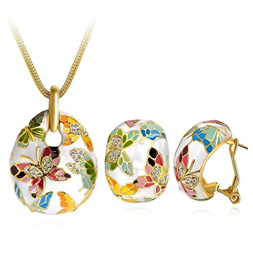Crunchy Fashion Bollywood Indian Jewelry Embellished Butterfly Necklace With Earrings Set for Women (Butterfly Embellished Ring)