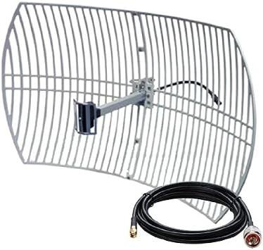 Antena WiFi PARABOLICA 24DB Grid 24DBI 24 DBI de Rejilla 3metros 3m Cable Pigtail Incluido