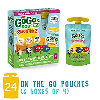 GoGo SqueeZ SmoothieZ, Mixed Berry, 4 Ounce (24 Pouches) | Gluten Free Yogurt, Fruit, & Oat Pouches | Individual Snacks for Kids | No Preservatives | Reclosable, BPA Free Convenient Pouches