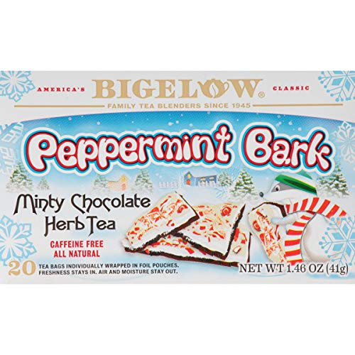 Bigelow Peppermint Bark 20 Bags (Pack of 6) Caffeine-Free Individual Herbal Tisane Bags, for Hot Tea or Iced Tea, Drink Plain or Sweetened with Honey or Sugar