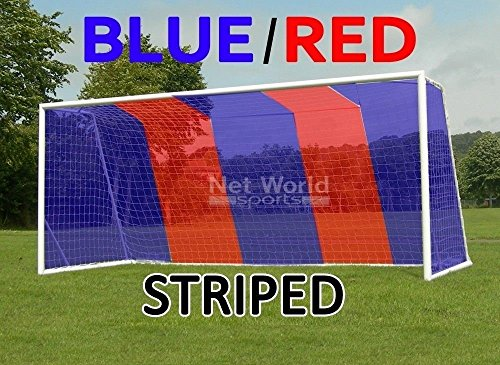 Striped Soccer Goal NET - Blue/Red- Official Full Size FIFA Spec - 24x8 / 24' x 8' (Blue/Red Soccer Net (Pair of Nets))