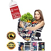 #LightningDeal 86% claimed: Reusable Grocery Bags Foldable Bulk Large Insulated Reusable bags grocery personalized lightweight Washable Waterproof Reusable Shopping bags 4 Pack