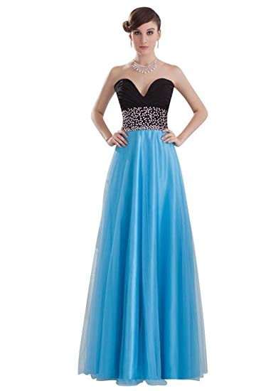 Dearta Womens A-Line Sweetheart Floor-Length Prom Dress UK 6 Black and Blue