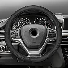 FH GROUP FH2002 Premium Genuine Full Grain Leather Steering Wheel Cover Solid Black