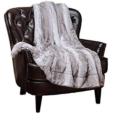 Chanasya Super Soft Fuzzy Fur Elegant Faux Fur Falling Leaf Pattern With Fluffy Plush Sherpa Cozy Warm Gray Throw Blanket - Gray and White