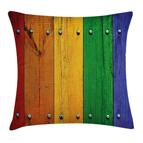 DDBACK Modern Decor Throw Pillow Cushion Cover, Rainbow Colored Red Marigold Green and Blue Painted Woods Farm Door Image, Decorative Square Accent Pillow Case, 18 X 18 Inches, Multicolor