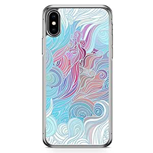 Loud Universe Case for iPhone XS Max Transparent Edge Case Blue Pink And White Hairs Pattern iPhone XS Max Cover
