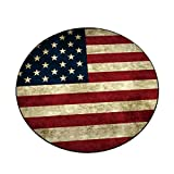 Independence Day Series Print Round Flannel Kitchen Anti-Slip Floor Mats Children's Room Carpet Area Rug Pad Felt Rug Pad Rug