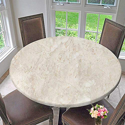 (PINAFORE HOME Round Premium Table Cloth Stone Italian Marble Warm Cream Perfect for Indoor, Outdoor 35.5