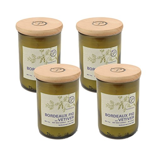 Paddywax Eco Green Recycled Glass Candle, 8-Ounce, Bordeaux Fig and Vetiver - Set of ()