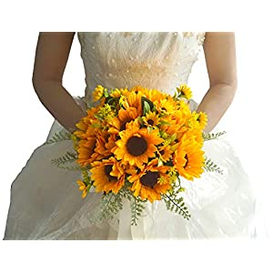 U'Artlines Artificial Sunflower Bridal Bridesmaid Wedding Bouquet Romantic Handmade Flowers with Ribbons for Wedding Memorial Party Home Decoration 14