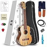 Vangoa UK-21SME Soprano Ukulele Spalted Maple 21inch Acoustic Electric Ukulele Beginner Bundle 3 Band EQ with Picks, Nylon Strap, Pick Container, Tuner, Kazoo, Extra Strings, Finger Shaker and Gig Bag