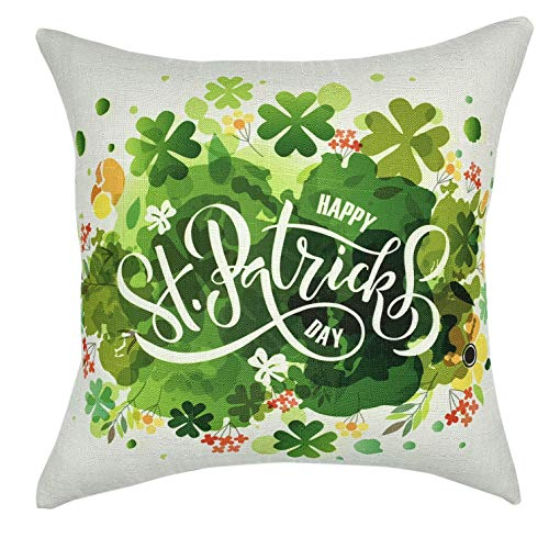 YOUR SMILE St. Patrick's Day Clover Cotton Linen Square Decorative Throw Pillow Case Cushion Cover 18x18 ()