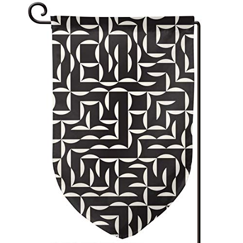 (Hucuery Seasonal Garden Flag, Black and White Irregular Arc Mesh Vertical Double-Sided 12.5 X 18 in Courtyard Decoration Durable, Lovely Gifts )