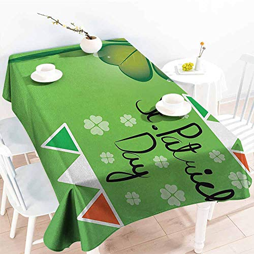 DILITECK Restaurant Tablecloth St. Patricks Day March 17th Celebration Large Shamrock Clover Leaf and Flags Art Party W70 xL102 Olive and Fern Green