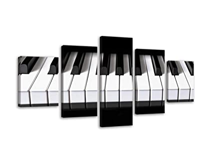 Amemny Black And White Wall Decor Piano Keys Paintings Keyboard Pictures Music Wall Art 5 Piece Canvas Modern Artwork Home Decor For Living Room