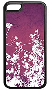 White Flowers Half Pattern- Case for the APPLE IPHONE 6 ONLY-Hard Black Plastic Outer Case