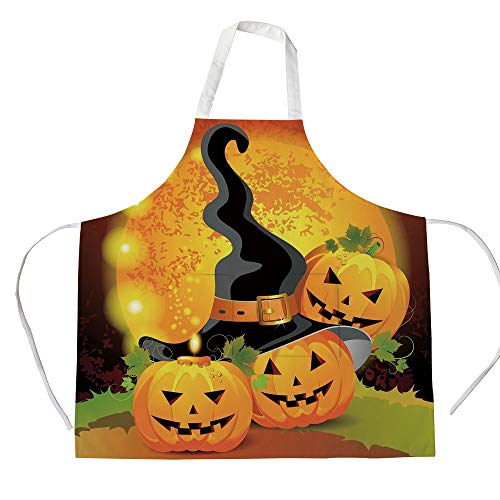 iPrint Cotton Linen Apron,Two Side Pocket,Halloween,Witches Hat Spooky Pumpkins Magical Night Autumn Nature Full Moon,Light Orange Green Black,for Cooking Baking Gardening