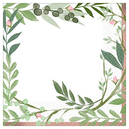 Love Lunch Napkins - Amscan International 512143 Paper and Plastic Tableware, Lunch Napkin Love and Leaves