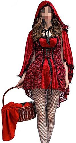 Betusline Women's Little Red Hat Nightclub Christmas Halloween Cosplay Costume (Zombie Red Riding Hood Halloween)