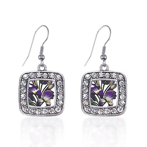 - Inspired Silver Iris Flower Classic Charm Earrings Square French Hook Clear Crystal Rhinestones