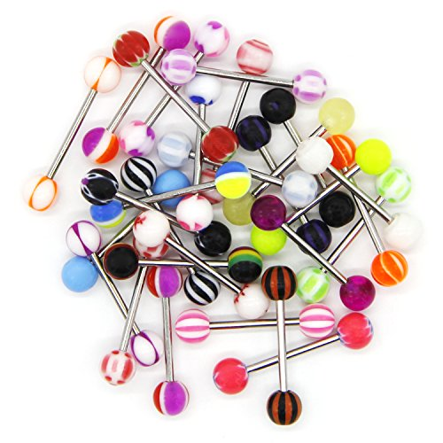 Acrylic Red Tongue Uv Rings (CrazyPiercing Tongue Rings Lot Barbells 14 Gauge Assorted Stainless Steel - 30 Pack)