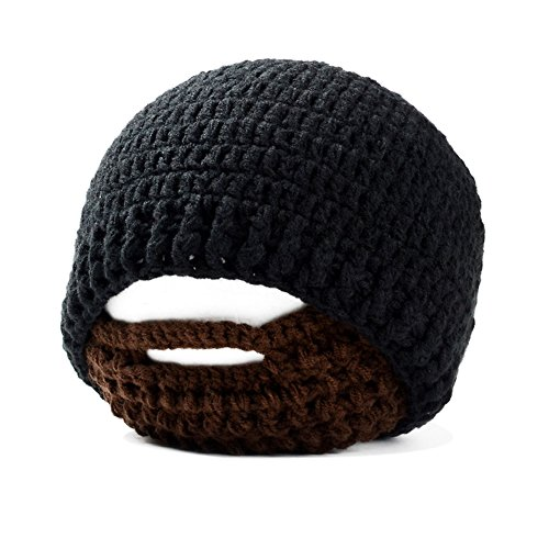 - IMLECK Unisex Funny Wind Detachable Beard Hand-Knit Hat