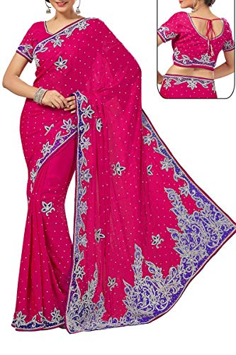 Pink Exclusive Designer Indian Wear Crepe Saree Ethnic wT1xqcPIcp