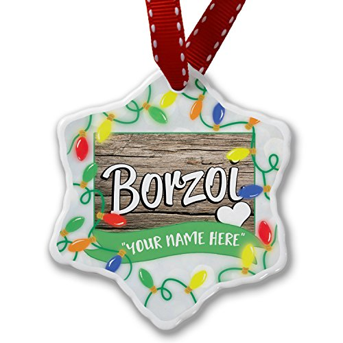 Personalized Name Christmas Ornament, Borzoi, Dog Breed Russia NEONBLOND