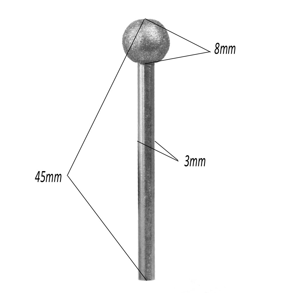 perfk 6mm 8mm 7pcs Forme De Boule Ronde De Diamant Meulage Fraises Peu Tige 3mm Grande Pour La Sculpture Meulage Ect. Gravure /à Leau-forte