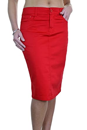 release info on marketable nice cheap ICE (2516-5) Plus Size Stretch Chino Sheen Jeans Style Skirt Red