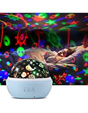 Upgrow Baby Night Light, 2 in 1 LED Starry Light Projector Lamp Ocean Wave Projector, 8 Colors 360° Rotating Baby Projector Lights for Kids Bedroom Decoration