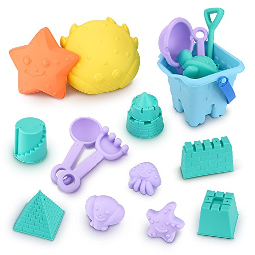Beach Toys, VFunix 18-Piece Sand Toys Set, Multi-colored Shapes Beach and Toy (Beach Shapes)