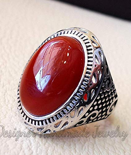 Aqeeq man ring natural liver agate natural red onyx ring semi-precious red stone oval heavy sterling silver arabic middle eastern turkey style