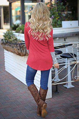 Casual Long Col Haut pissure Shirts Irregulier Rose Rond Manches Blouse Longues Raye Chemisiers Fashion Rouge Svelte Tops Femme Tunique T fZqwBxO1