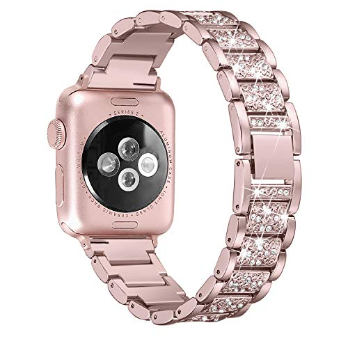 Secbolt Bling Bands Compatible Apple Watch Band 38mm 40mm Metal Replacement Wristband Compatible Iwatch Series 4 3 2 1, 4 Colors