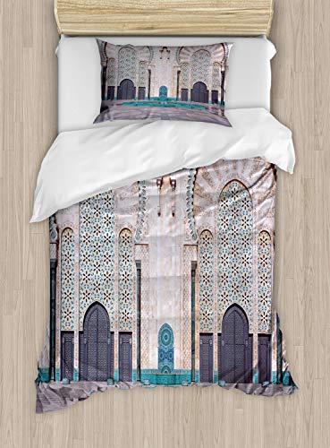 Comforter Casablanca - Ambesonne Architecture Duvet Cover Set Twin Size, Eastern Exterior Vista of Casablanca Historic Building Gates and Quad Photo, Decorative 2 Piece Bedding Set with 1 Pillow Sham, Multicolor