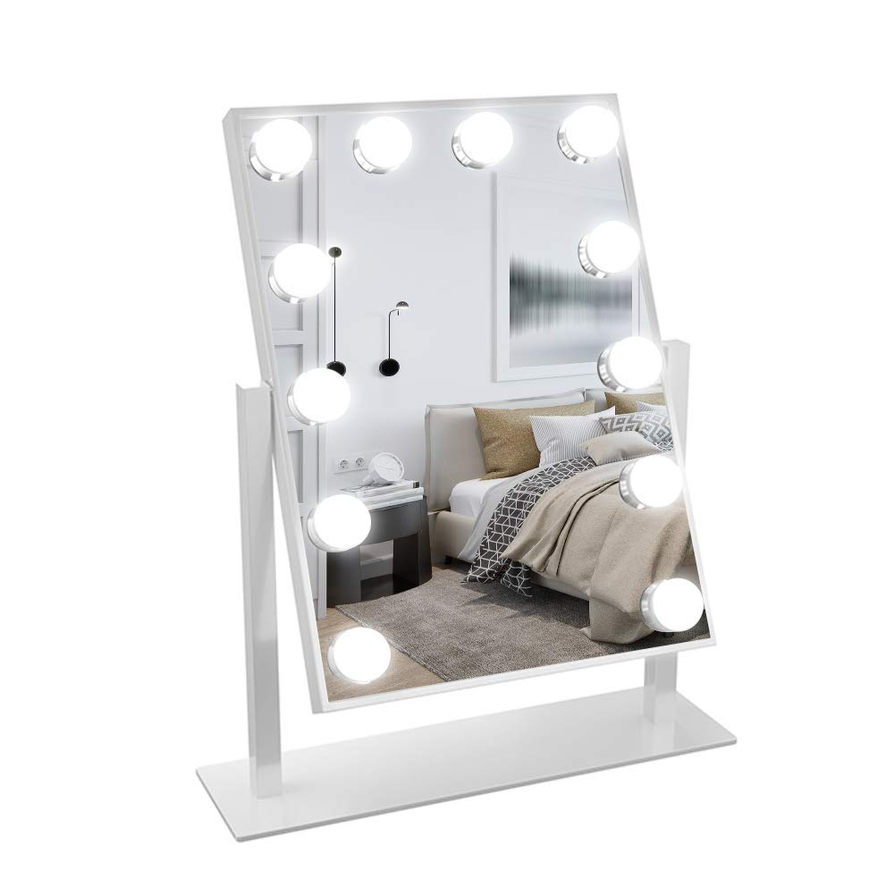 Ovonni Lighted Vanity Mirror, Vanity Makeup Hollywood Mirror, Dimmable Tabletop 3 Colors lighting Cosmetic Mirror with LED Bulbs, Touch Control and Plug Powered (12 Blubs, White)