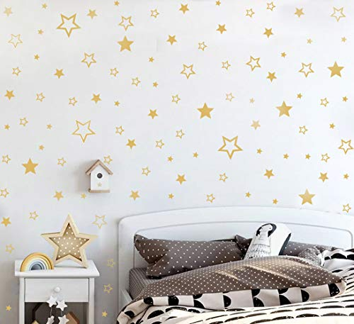 TOARTi Gold Star Wall Decal (166pcs),Solid and Hollow Stars Wall Stickers for Nursery Decoration,Various Mixed Magical Gold Star Wall Art Home Decoration,Gold