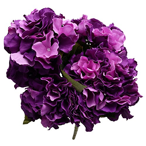Derker Silk Artificial Hydrangea Bouquet 5 Big Heads Hydrangea Flowers Arrangement Home Wedding Centerpieces Christmas Decoration (Dark Purple)