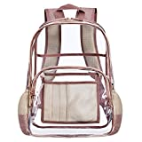 Clear Backpack for Women and Men Fit 15.6 inch Laptop See Through College School Bag for Student Cute Bookbag for Kids Girls Boys Transparent PVC Knapsack Daypack for Travel Work Gym Hiking,Rose Gold